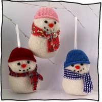 design your own tree decoration knitted snowmen by Laura Long